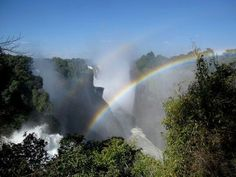 Victoria Falls and Beautiful Rainbow