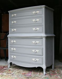 Gray Painted Furniture With Spray Painted Hardware Petticoat Junktion