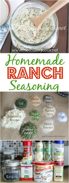 Homemade, From-Scratch, Ranch Seasoning Recipe from The Country Cook. Gluten Free, Preservative Free and SO simple to make! This makes some of the yummiest dressing! I used homemade dairy free mayo as my base. Homemade Ranch Seasoning, Seasoning Mixes, Dry Ranch Seasoning, Homemade Ranch Mix, Salt Free Seasoning, Homemade Spices, Homemade Seasonings, Homemade Food, Do It Yourself Food