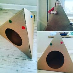 Three HUBU's and a big piece of cardboard and you have the perfect DIY cathouse / pethouse. Bird, Building, Creative, Outdoor Decor, Animals, Home Decor, Animales, Homemade Home Decor, Animaux