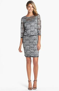 Alex Evenings Metallic Lace Sheath Dress (Regular & Petite) available at #Nordstrom.  Hmm, slim suit look?  A different approach to gray/silver