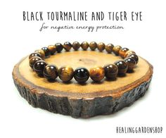 Black Tourmaline and Golden Tiger Eye // by HealingGardenShop **Use promo code TRES10 for a 10% discount! :)**