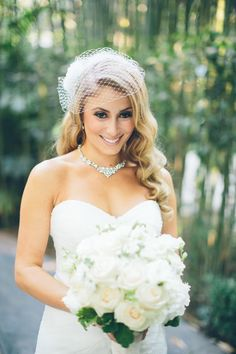 Wedding veil, birdcage veil, retro curls, wedding hairstyle, glam bride, repin to your own inspiration board // Aga Jones Photography