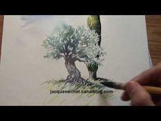 Démo Aquarelle olivier et cyprès (watercolor tutorial) - YouTube