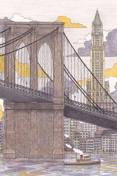 danpoharyskyiillustration:  Drawing of New Yorks 'Woolworth Building'.