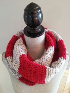 Items similar to SALE Infinity scarf striped red and gray, Écharpe infinie, Foulard infini. Crocheted scarf, Knitted scarf on Etsy Crochet Snood, Knitted Hats, Knitted Scarves, Crocheted Scarf, Aluminum Wire Jewelry, Unisex Gifts, Striped Scarves, Fashion Mode, Red And Grey