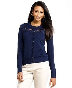Charter Club Sweater, Long-Sleeve Crochet - Womens Sweaters - Macy's