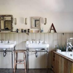 See all our bathroom design ideas on HOUSE, design, food and travel by House & Garden. Tongue and groove panelling reclaimed from a demolished village hall. French Country Wall Decor, Tongue And Groove Panelling, Vintage Industrial Decor, Interior Design Inspiration, Design Ideas, Interior Ideas, Small Bathroom, Bathroom Ideas, Family Bathroom