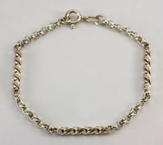 "Vintage Sterling Silver Twisted Bar Rolo Chain Bracelet 7.5"" #Chain"
