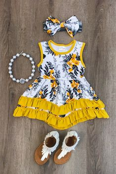 The Marissa Mustard Floral Dress
