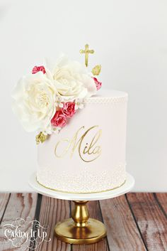 1 tier christening cake adorned with delicate sugar flowers and edible lace… Christening Cake Girls, Baptism Cakes, Girl Baptism, Baptism Ideas, Religious Cakes, Confirmation Cakes, First Communion Cakes, Gorgeous Cakes, Girl Cakes