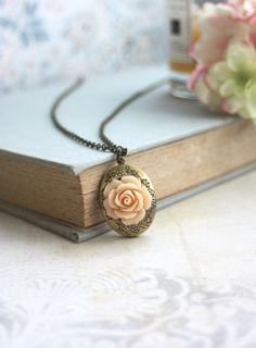 Peach Rose Flower Locket Necklace. Bridesmaids Gifts. by Marolsha