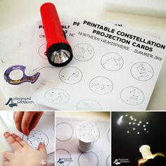 Free two page printable constellation projection cards. The first page features 9 constellations formations. The second page is a blank template you can use to create your own star formations. Space Activities, Science Activities, Science Projects, Science Experiments, Projects For Kids, Activities For Kids, Montessori Science, Science Education, Physical Education