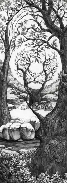 The Sleeping Tiger Optical Illusion The_Sleeping_Tiger_by_willustration – Mighty Optical Illusions. This would make an awesome tattoo! Sleeping Tiger, Illusion Kunst, Art Design, Skull Design, Op Art, Oeuvre D'art, Cool Drawings, Pencil Drawings, Drawings Of Tigers