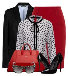 """""""Red Pencil Skirt & Polka Dot Blouse"""" by brendariley-1 ❤ liked on Polyvore featuring ESPRIT, Paule Ka and Dolce&Gabbana"""