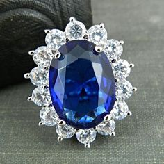 Kenneth Jay Lane's Princess Simulated Sapphire Ring - Size 5 #KennethJayLane #Cocktail