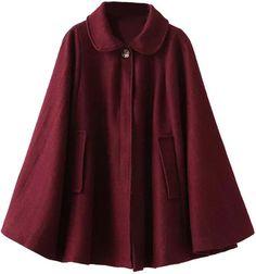 Choies Wine Red Lapel Poncho Cape Woolen Coat