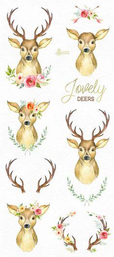 image result for watercolor deer head - Reindeer Images 2