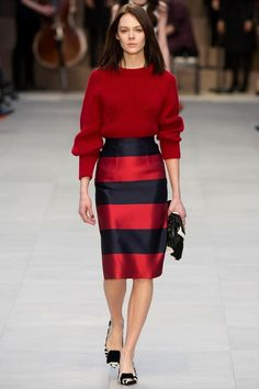 Red and navy stripes....LOVE THE SKIRT BUT NOT WITH THE SWEATER...TOO HEAVY