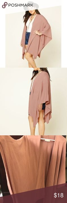 Forever 21  sweater shawl Soft and cozy sweater shawl in pretty dusty pink. Good weight (not too heavy not too light) super soft. Can be used year round! Size 3x but can be easily worn by XL, 1x and 2x . Forever 21 Sweaters Shrugs & Ponchos