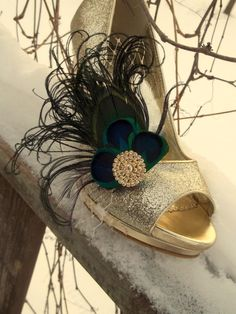Peacock Feather Shoe Clips  set of 2   Bridal by ShoeClipsOnly, $54.00