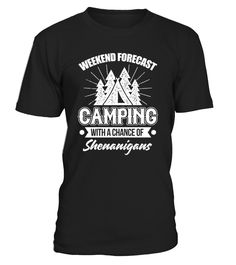Perfect Gift Idea for Men and Women who love to camp - Funny Quote Weekend Forecast Camping With A Chance Of Drinking TShirt. Awesome gift for your dad, brother, husband, boyfriend, son, uncle or nephew, girlfriend, sister, mom, mother, friends or family. Great Tee with graphic print. For Drinking Beer Lovers, drunk peoples who drink alcohol - vodka, tequila, whiskey and beer. Add this tshirt to your collection of camping accessories. TIP: If you buy 2 or more (hint: make a gif...
