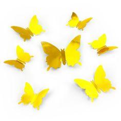 Cool D Schmetterlinge er Set Wandtattoo Wandsticker Wanddeko gold
