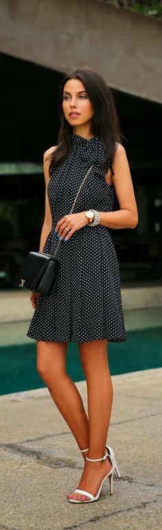 EXPRESS S/S 2014 polka dot tie neck halter dress.