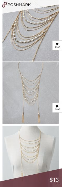 AEO GOLD & PEARL STATEMENT NECKLACE Gold and pearl statement necklace Cascading gold chain and pearl statement necklace.  Style:0482-6057| Color:709  Materials & Care20% Brass, 50% Iron, 30% Glass Pearl  Imported American Eagle Outfitters Jewelry Necklaces
