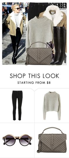 """2210. Celebrity Style: Margot Robbie"" by chocolatepumma ❤ liked on Polyvore featuring Oris, rag & bone, H&M, Yves Saint Laurent, Stuart Weitzman, Winter, YSL and CelebrityStyle"