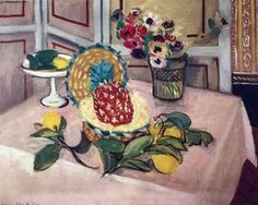 Still Life with Pineapples by Henri Matisse. still life Henri Matisse, Pablo Picasso, Raoul Dufy, Matisse Pinturas, Pink Tablecloth, Matisse Paintings, Still Life Artists, Atelier D Art, Post Impressionism