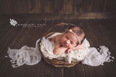 Newborn Fine Art Photos | Newborn Photographer | Meghan Vail Photography | Orlando Quality Newborn Photographer | Neutrals Baby Girl Picture | Baby in a Basket