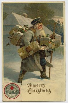 Vintage Merry Christmas card.  Old World Santa dressed in grey tramping through the snow with a walking stick loaded down with lots of Christmas gifts.