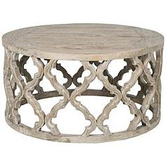 Bella Antique Clover Smoke Gray Wood Coffee Table