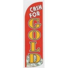 Cash for gold red dollar bills business windless super size swooper feather sign banner flag 16ft tall