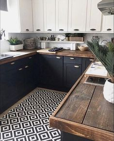 Diy kitchen renovation Countertop design Kitchen renovation New kitchen cabinets Wood k Diy Wood Countertops, Kitchen Countertop Materials, Dark Kitchen Cabinets, Upper Cabinets, Soapstone Kitchen, White Cabinets, Tile Kitchen Countertops, Countertop Types, Stain Cabinets