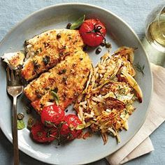Flounder gets a golden crunch from panko and capers give the tomatoes a briny kick in this quick and easy dinner of Crispy Flounder and Roasted Tomatoes.View Recipe: Crispy Flounder and Roasted Tomatoes Shellfish Recipes, Seafood Recipes, Flounder Recipes, Baked Flounder, Fresh Tomato Recipes, Cooking Tomatoes, Cooking Light Recipes, Roasted Tomatoes, Seafood Dishes