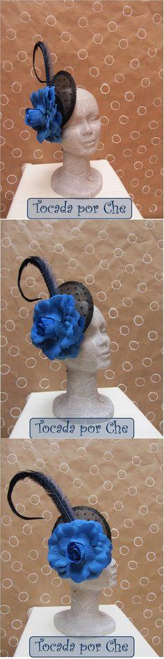 Tocado plumeti negro y azul klein Black plumeti and blue headpiece