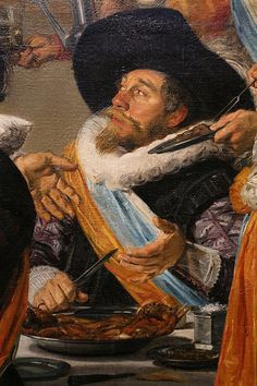 1627.Frans Hals.Banquet of the Officers of the St Hadrian Civic Guard Company. Haarlem.183 × 266.5 cm.Frans Hals Museum.  detail of Banquet of the officers of the Calivermen Civic Guard, Haarlem. The St, Cavalier, Banquet, Golden Age, Painters, Dutch, Period, Dutch Language, Repeating Decimal