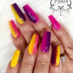 Neon nail art design makes your nails bright and shiny. The energy you can see in neon nails. When you wear neon nails, you can choose yellow. Today, we have collected 77 stunning yellow neon nail art designs to beau Bright Summer Acrylic Nails, Colorful Nail, Best Acrylic Nails, Nails Yellow, Neon Nails, Swag Nails, Bright Nails Neon, Orange Nail, Black Nails