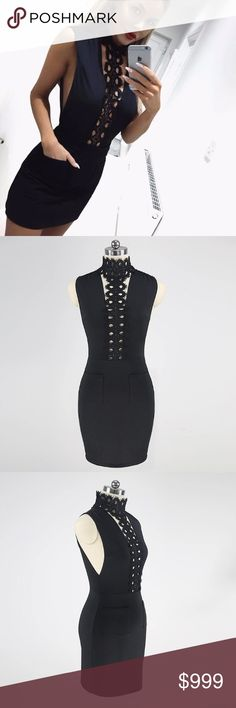"""*COMING SOON!* Sexy Black Mini Dress Sexy Black mini dress with lace chain in front.  Will lower prices once item is available.   """"Like"""" this listing to be notified when item is available Dresses Mini"""