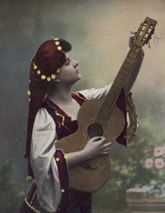 Beautiful Gypsy Guitar Player circa 1910 by redpoulaine on Etsy, $14.00