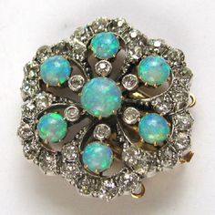 A late Victorian opal and diamond cluster brooch