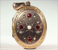 Antique Victorian Garnet and Pearl Locket