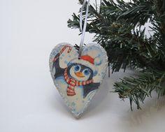 Wooden decoupage heart decoration, wooden heart ornament, decoupage heart ornament, shabby chic heart ornament, penguin, romantic decoration by PastimeArt on Etsy