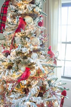 Our Red + Gold Christmas Tree + Family Room Red + Gold Woodland Themed Christmas Tree and Family Roo Red And Gold Christmas Tree, Flocked Christmas Trees, Woodland Christmas, Beautiful Christmas Trees, Christmas Mantels, Christmas Tree Themes, Christmas Diy, Christmas Ornaments, Holiday Decor