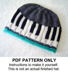 Knitting Pattern - Piano Hat Pattern - Musical Knitting Pattern - Beanie Pattern the BEETHOVEN Hat (Baby & Adult sizes incl'd) Knitting Terms, Baby Knitting Patterns, Loom Knitting, Knitting Projects, Easy Knitting, Knit Crochet, Crochet Hats, Beanie Pattern, Yarn Needle