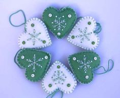 Felt Christmas Heart decorations Green by PuffinPatchwork on Etsy, $18.00