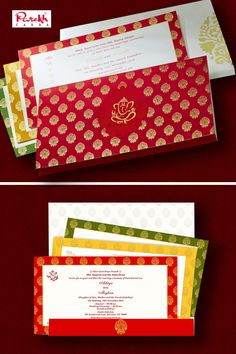 Front of card has red background in silk screen printing with traditional motif in self color in the center surrounded by gold motifs all around. Insert too have silk screen ground borders in different color option. Envelope is made out of ivory (cream) card stock and design on front is printed in pearl and gold color.