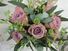 Mirror cube of memory lane roses, scabius, larkspur and eucalyptus by Apple Blossom Flowers